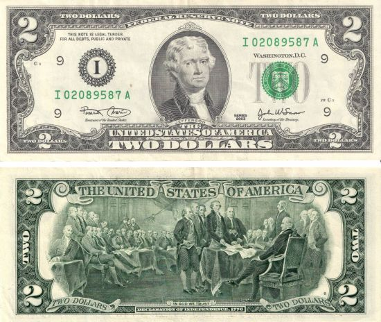 Двухдолларовые купюры
